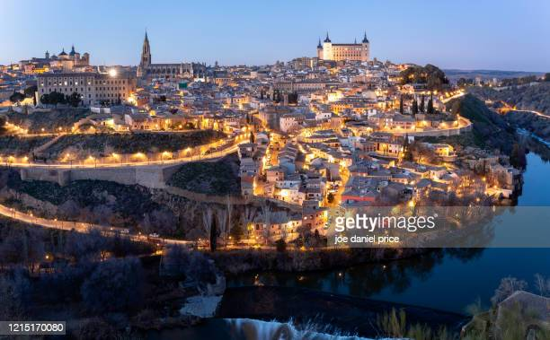 panorama, beautiful, toledo, spain - toledo spain stock pictures, royalty-free photos & images