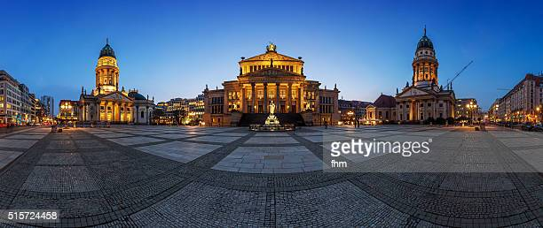 panorama berlin gendarmenmarkt at blue hour - gendarmenmarkt stock pictures, royalty-free photos & images