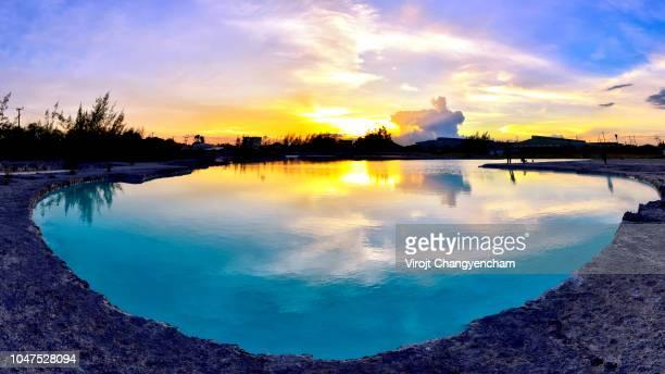 panorama blue lagoon - アカマス半島 ストックフォトと画像