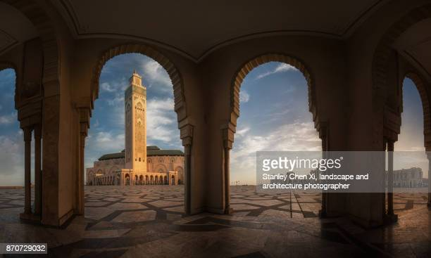 panorama casablanca - mosque hassan ii stock photos and pictures