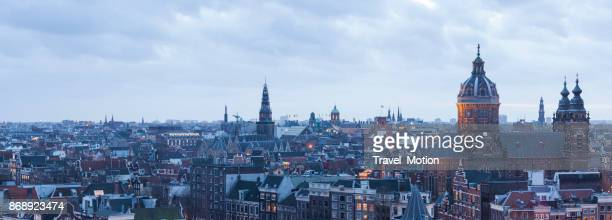 Panorama cityscape at twilight of Amsterdam