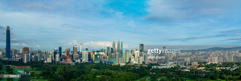Panorama cityscape view in the middle of Kuala Lumpur city center. : Stock Photo