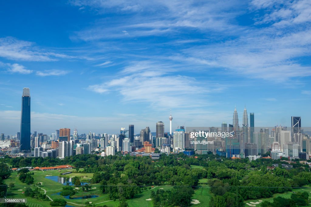 Panorama cityscape view in the middle of Kuala Lumpur city center, Malaysia : Stock Photo