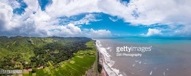 panorama coastline view in cox's bazar bangladesh - cox's bazaar stock pictures, royalty-free photos & images