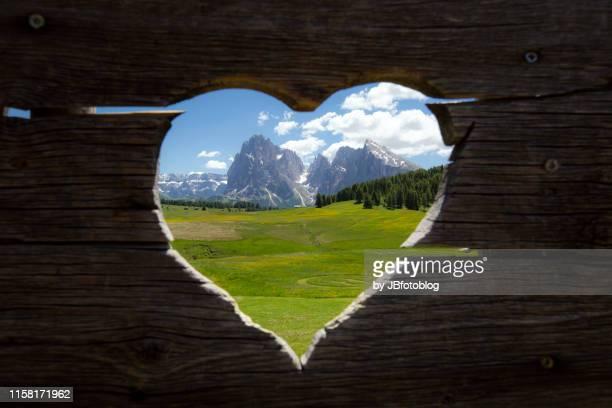 Panorama della Val di Siusi (a forma di cuore), dal rifugio Sanon