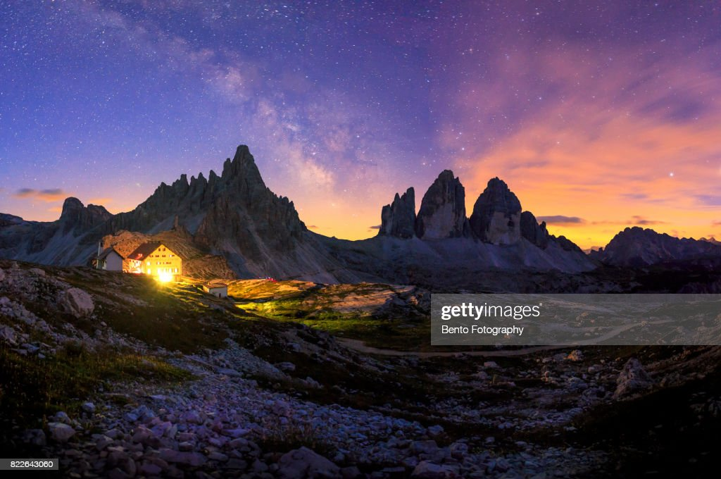 Panorama Dolomite Milky Way : Stock Photo