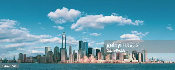 panorama downtown manhattan jersey city to new york - new york city skyline stock pictures, royalty-free photos & images
