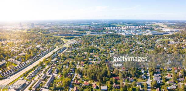 panorama, flying over villa area morning, sollentuna, stockholm - sweden stock pictures, royalty-free photos & images