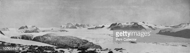 Panorama from Discovery Bluff Looking NorthWest Up The Mackay Glacier to the Great Ice Plateau' circa 1911 Landmarks Mount Suess Great Ice Plateau...