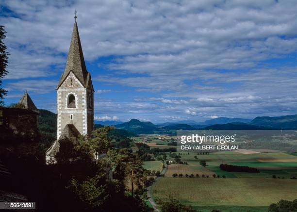 Panorama from Hochosterwitz Castle to the left the church bell tower Carinthia Austria 9th16th century