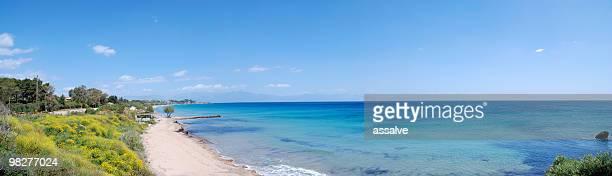 vista panorámica del mar mediterráneo, grecia - messenia fotografías e imágenes de stock