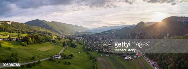 panorama from neu bechburg castle over aeussere klus and balsthal, solothurn, switzerland - neu ストックフォトと画像