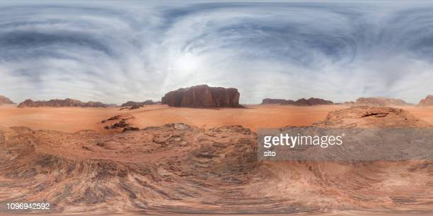 360 panorama from red sand dune, wadi rum, jordan - 360 degree view stock pictures, royalty-free photos & images