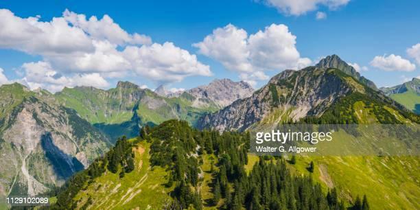 panorama from riefenkopf, 1748m to laufbacher-eck-weg, schneck, 2268m, himmelhorn, 2113m, hochvogel, 2592m, grosser wilder, 2379m, kleiner wilder, 2306m, and huettenkopf, 1949m, behind the hoefats, 2259m, allgaeuer alps, allgaeu, bavaria, germany - weg fotografías e imágenes de stock