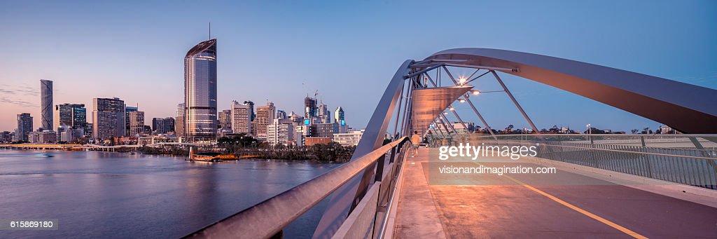 Panorama from the Goodwill Bridge, Brisbane : Stock Photo