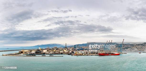 panorama from the harbor of genoa - genoa italy stock pictures, royalty-free photos & images