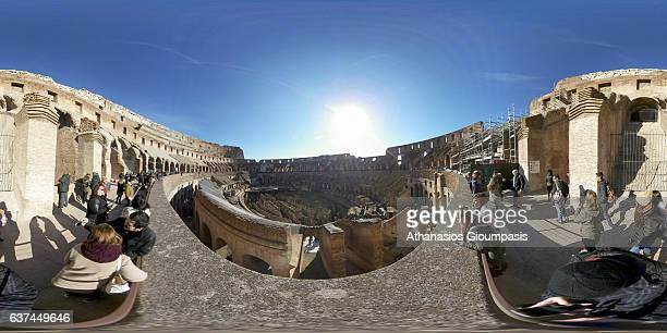 Panorama from the inside of the Colosseum also known as the The Flavian Amphitheatre on December 31, 2016 in Rome, Italy. The Colosseum or the...