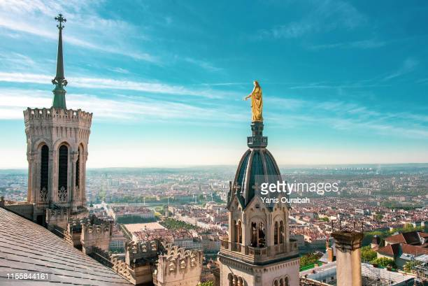 panorama from the top of the fourviere church of the french city of lyon - auvergne rhône alpes stock pictures, royalty-free photos & images
