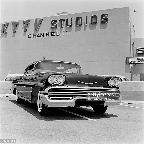 Panorama Grille on a 1958 Chevrolet parked in front of the KTTV Channel II Television Studios