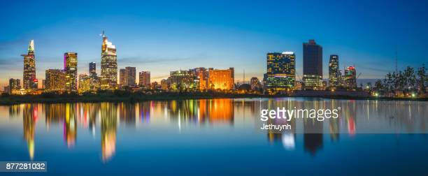 Panorama Ho Chi Minh City Skyline at night riverside