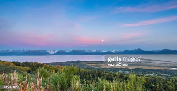 panorama homer spit, bahía de kachemak, alaska - paisajes de alaska fotografías e imágenes de stock