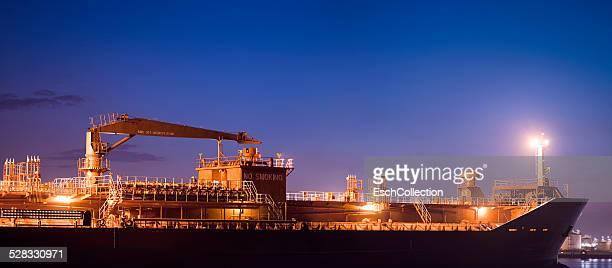 Panorama image of an oil or petroleum tanker