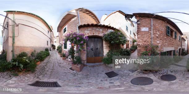 360 panorama in the streets of fornalutx, majorca, spain. - vista de 360 graus imagens e fotografias de stock