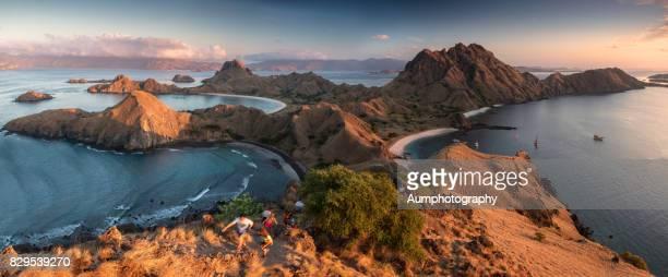 panorama landscape of padar island,komodo national park, indonesia. - komodo island stock photos and pictures