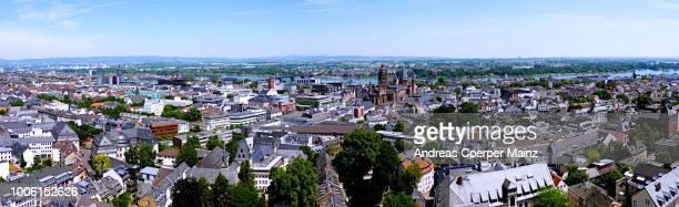 panorama mainz 160 grad innenstadt - mainz stock-fotos und bilder