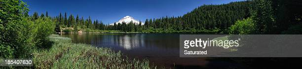 panorama: mountain reflected in secluded lake - mt hood stock pictures, royalty-free photos & images