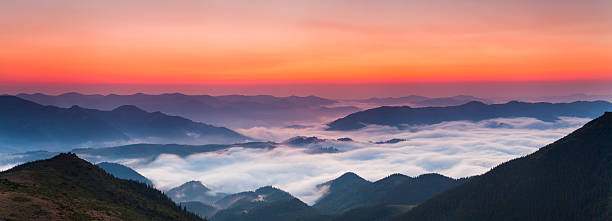 Panorama Of A Beautiful Sunrise In The Mountains Wall Art
