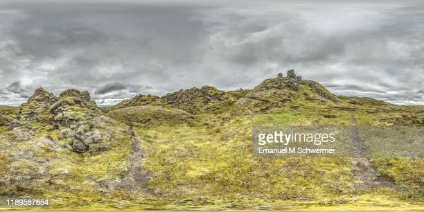 360° panorama of a dramatic nature scenery in the icelandic highlands while summer. - hdri 360 ストックフォトと画像
