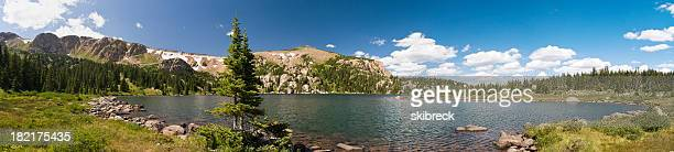 パノラマに広がる湖、高くそびえる山には、コロラドのロッキー山脈の風景