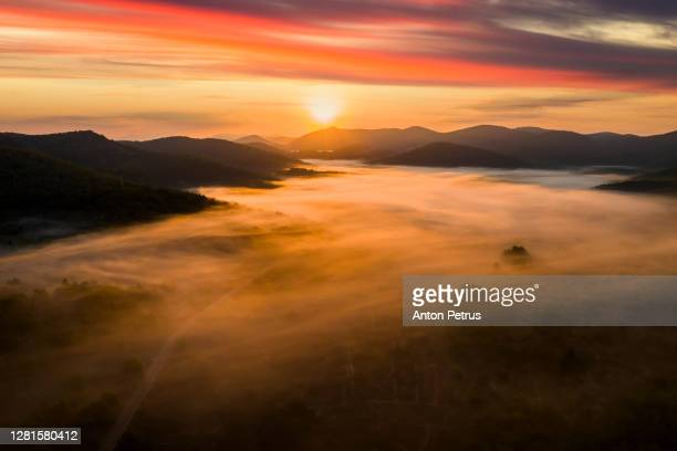 panorama of a misty dawn in the mountains. korcula island, croatia - アドリア海 ストックフォトと画像