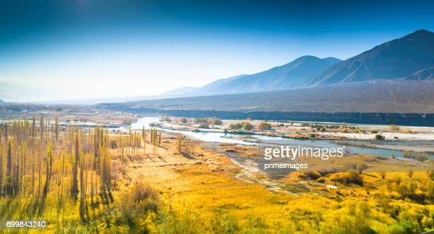 panorama of a nature and landscape view in leh ladakh india - kashmir valley stock photos and pictures