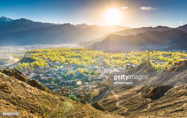 panorama of a nature and landscape view in leh ladakh india - kashmir stock photos and pictures
