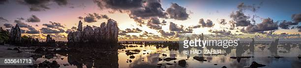panorama of a sunrise in the pacific | nauru - nauru stock pictures, royalty-free photos & images