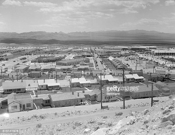A panorama of a US Governmentbuilt suburban housing development in Boulder City Nevada for workers on the Hoover Dam