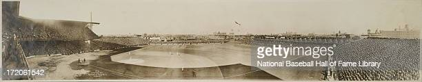 A panorama of a World Series game between the New York Giants and the Philadelphia Athletics in October 1911 at Shibe Park in Philadelphia...