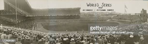 A panorama of a World Series game between the Pittsburgh Pirates and the New York Yankees circa October 1927 at Yankee Stadium in the Bronx borough...