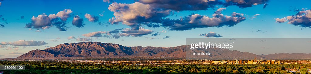 Panorama of Albuquerque Skyline and Sandia Peak : Stock Photo
