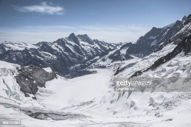Panorama of Aletsch glacier and majestic Jungfrau mountains, Alps, Switzerland