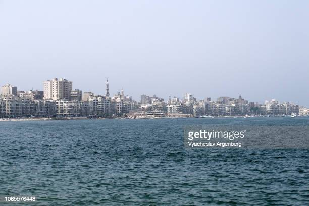 panorama of alexandria and mediterranean sea, egypt - argenberg stock pictures, royalty-free photos & images