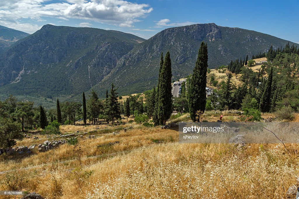 Panorama of Amphitheater in Ancient Greek archaeological site of Delphi : Stock Photo