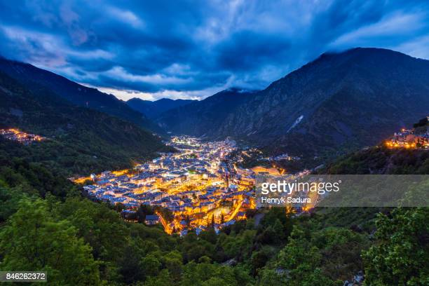panorama of andorra la vella - andorra stock pictures, royalty-free photos & images