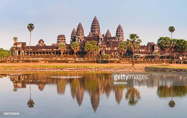 Panorama of Angkor Wat Cambodia Ruins and Reflection