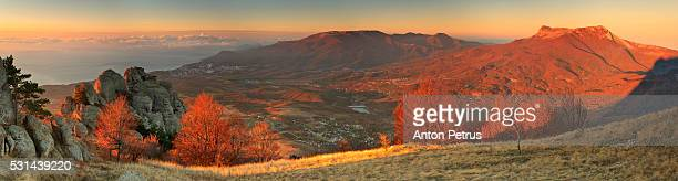 Panorama of autumn mountains