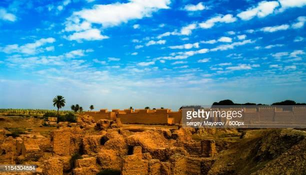 panorama of babylon ruins, hillah, iraq - irak photos et images de collection