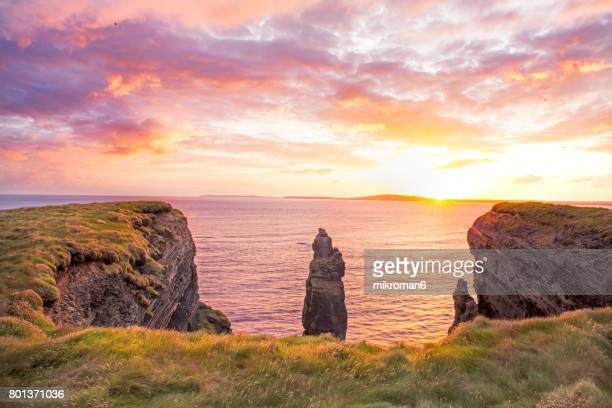 HQ Panorama of  Ballybunion Cliff  at colorfull sunset Co. Kerry, Ireland