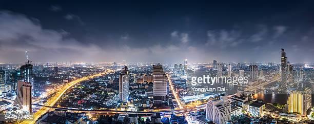 Panorama of Bangkok Skyline at Night
